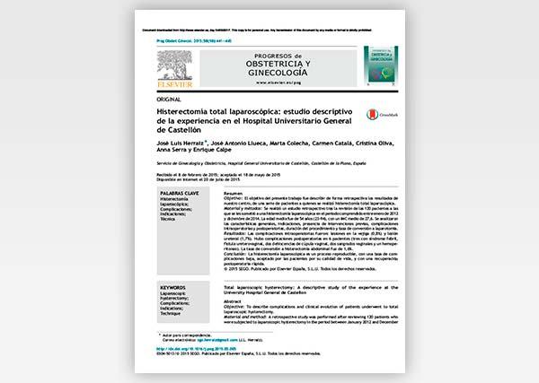 Histerectomía total laparoscópica: Estudio descriptivo de la experiencia en el Hospital Universitario General de Castellón